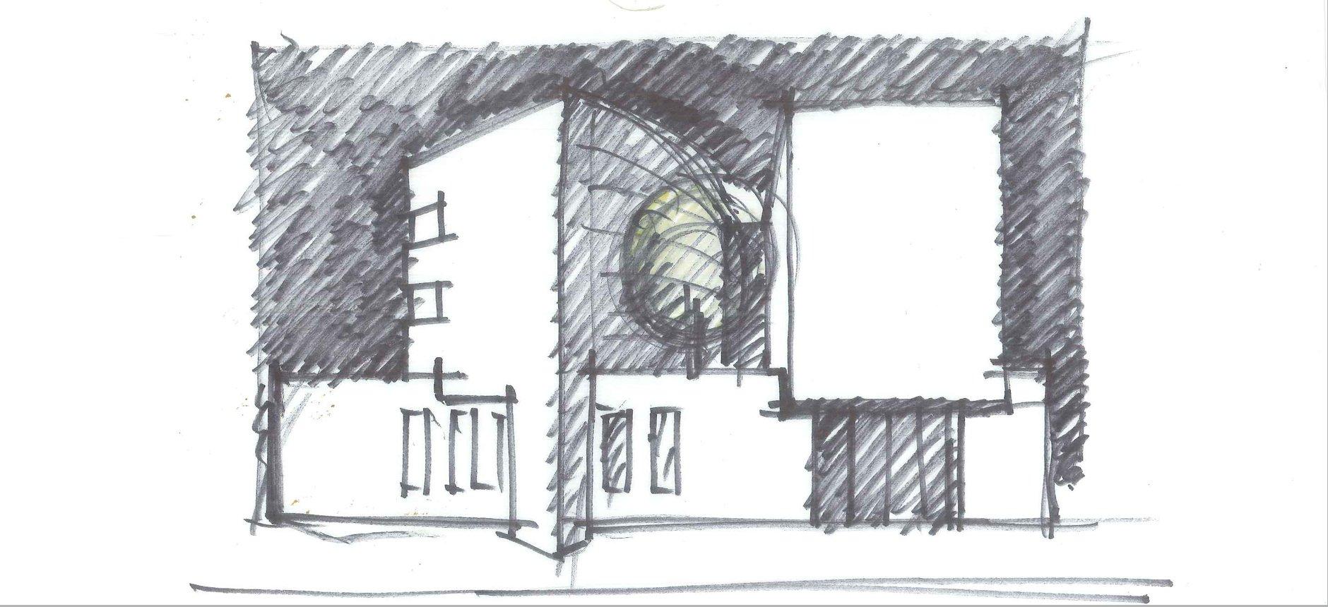 סקיצה-בית השריון-אדריכלות